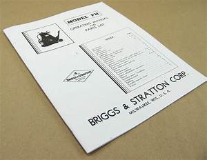 Briggs And Stratton Model Fh Gas Engine Motor Owners