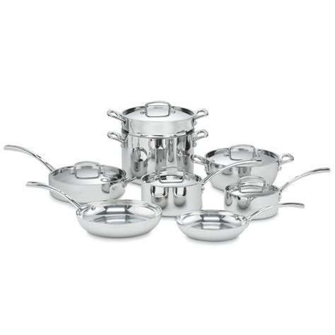 cookware cuisinart stainless classic piece french tri steel ply lid included lowes dishwasher safe copper pc sets kohls