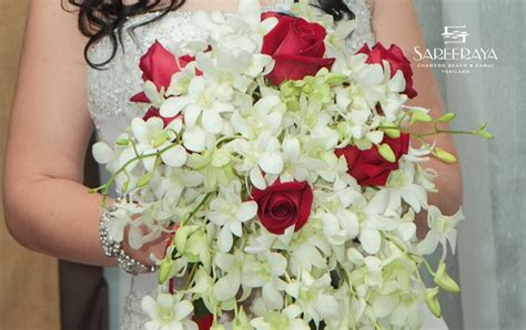White Orchid And Red Rose Draping Bouquet