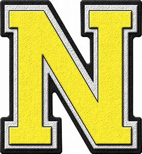 Presentation Alphabets: Yellow Varsity Letter N