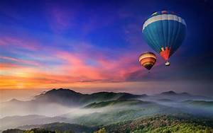 Balloons, Hot, Air, Balloons, Nature, Landscape, Sunset, Mist, Wallpapers, Hd, Desktop, And, Mobile