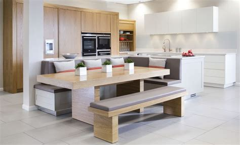 kitchen island bench seating large oak and white ex display kitchen painted l 4998