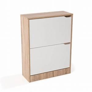 meuble a chaussures mdf coloris chene blanc avec porte With porte d entrée pvc avec meuble salle de bain mdf