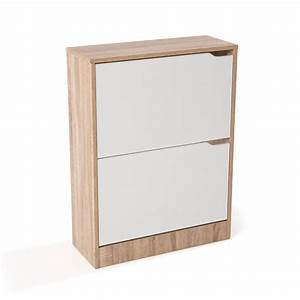 meuble a chaussures mdf coloris chene blanc avec porte With porte de garage et porte mdf