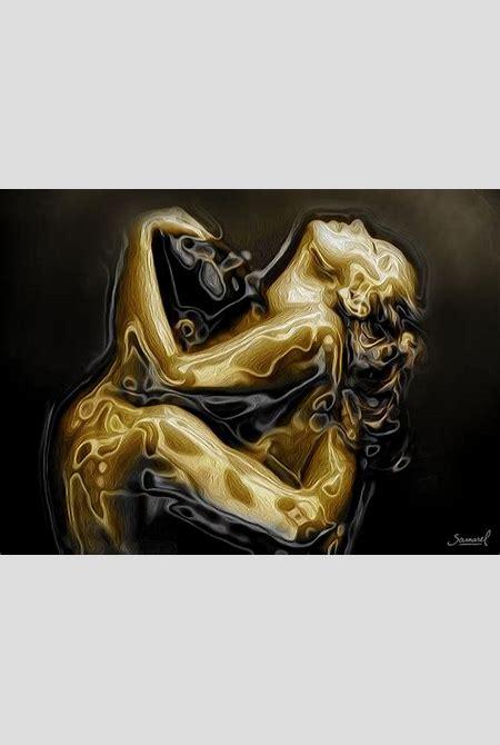 Golden Love Hug Painting by Samarel