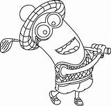 Coloring Pages Golf Themed Minions Disney Realistic sketch template