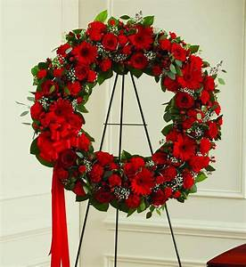 Red And White Sympathy Wreath | Car Interior Design