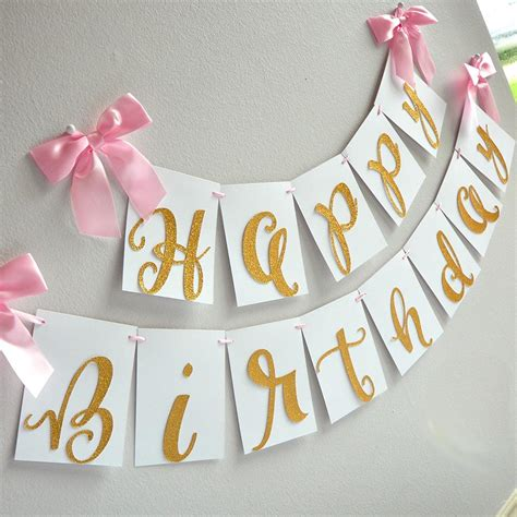 gold happy birthday banner handcrafted in 1 3 business days pink and confetti momma
