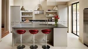 good modele de cuisine ilot central en blanc et noir avec With comment amenager une cuisine en longueur