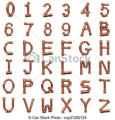 3d letters and numbers clip of 3d copper pipe letters and numbers 3d render 40144