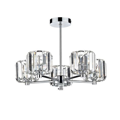 contemporary chrome glass semi flush ceiling light