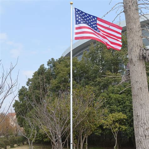 yard flag pole 20ft aluminum sectional flagpole kit outdoor halyard pole 1204