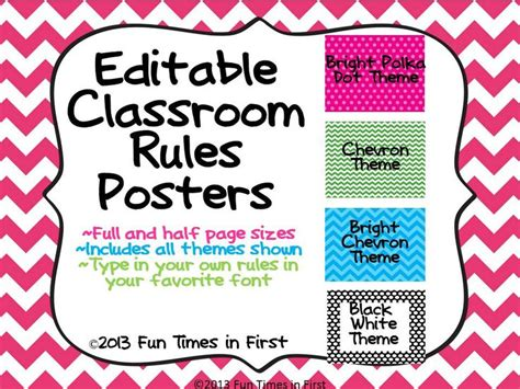 classroom rules template classroom rules posters editable 4 themes