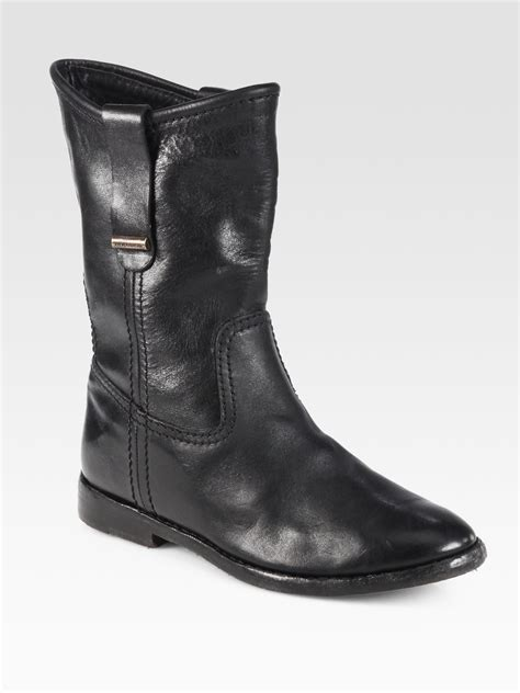 leather motorcycle shoes burberry dunbar leather motorcycle boots in black lyst