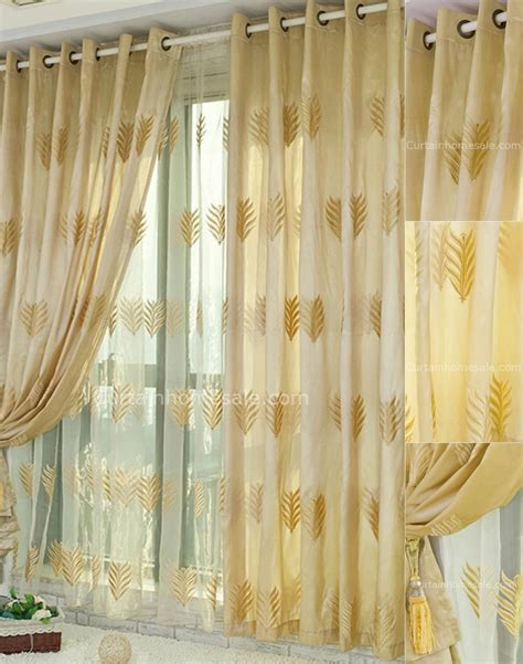 yellow blackout curtains fabulous leaf patterns embroidery bedroom blackout yellow