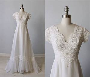Lace wedding dress 1970s wedding dress chiffon short for 1970 wedding dresses