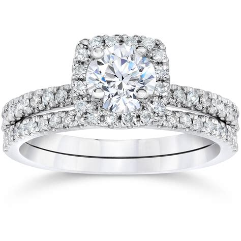 5 8ct cushion halo real diamond engagement wedding ring