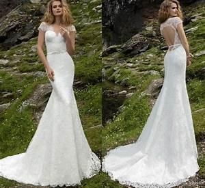 New Arrival Lace Sexy Mermaid Wedding Dresses Cap Sleeve V ...