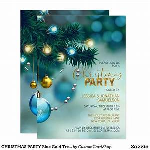 Christmas Party Blue Gold Tree Baubles Glitter Invitation