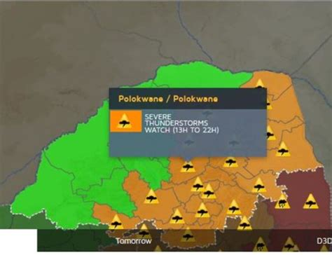 Ratio of temperature, wind speed and humidity: Polokwane on 'severe thunderstorm' watch - Review