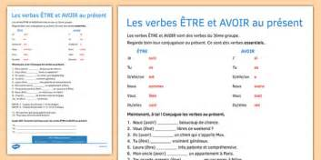 etre  avoir worksheet present tense activity