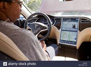 Tesla Model S electric car interior Stock Photo - Alamy