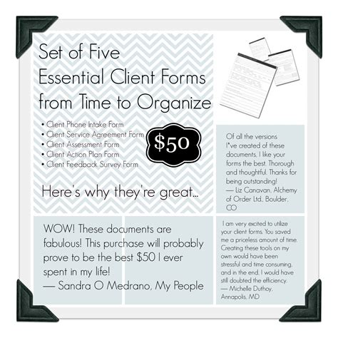 Professional Organizer Contract Template by Set Of Five Essential Client Forms For Professional