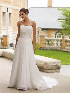 simple a line strapless wedding dress from chiffon sang With simple chiffon wedding dress