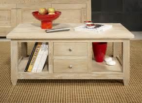 Table Bois Blanchi : table basse thomas en ch ne massif de style campagnard ~ Teatrodelosmanantiales.com Idées de Décoration