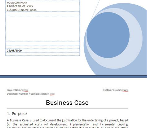 prince business case template prince business case