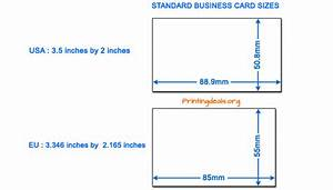 Business card sizes for Visiting card size in inches