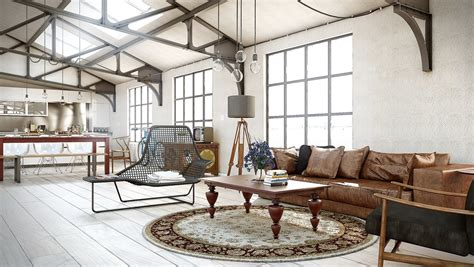 industrial themed living room industrial utilitarian living space interior design ideas