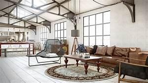 Industrial utilitarian living space interior design ideas for Industrial living room decor