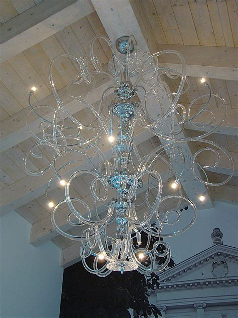 Clear With Chrome Modern Contemporary Murano Chandelier
