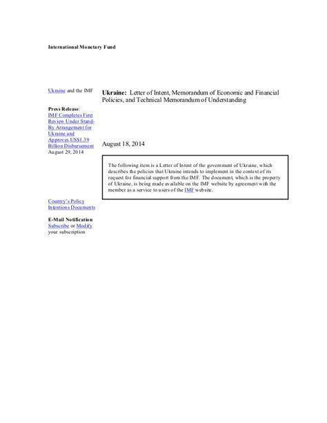 imf letter  intent memorandum  economic  financial