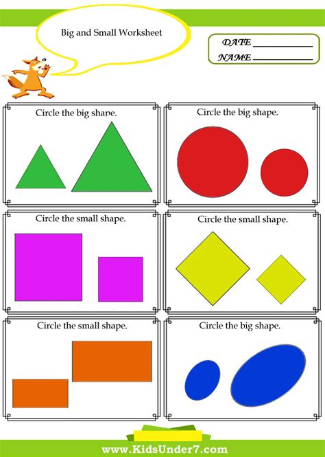 big and small worksheets for kindergarten sizes big and