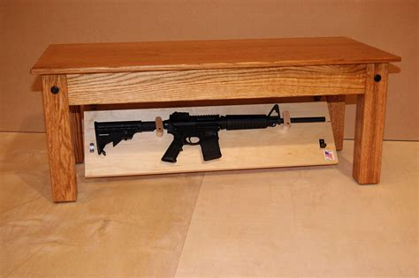 hidden compartment coffee table hide your weapons inside secret compartment of this oak