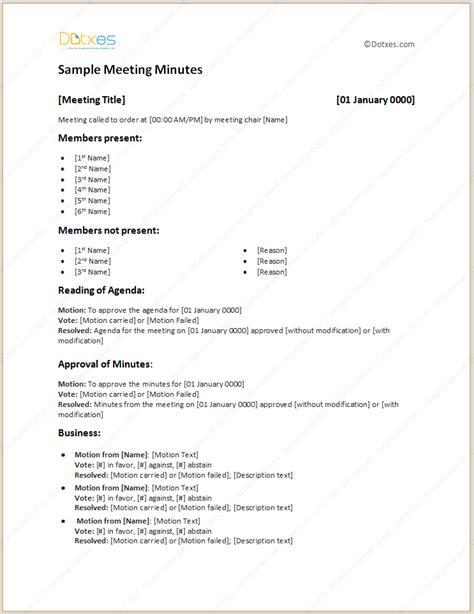 sample meeting minutes template pta meeting agenda