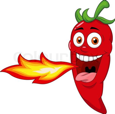 chili pepper clipart vector illustration of chili character breathing