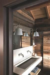 salle de bains creer une ambiance bien etre facon sauna With salle de bain design avec muret pierre reconstituée décoratif