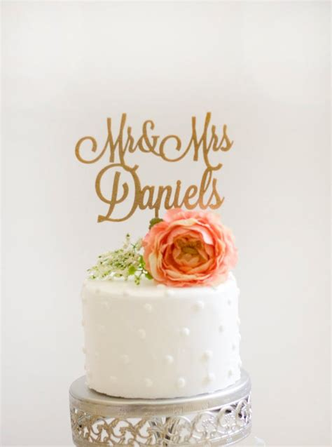 Custom Mr And Mrs Wedding Cake Topper Glitter Gold