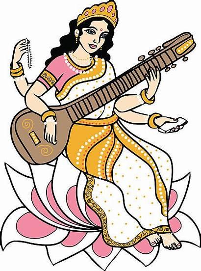 Saraswati Vector Goddess Hindu Clipart Clip Illustration