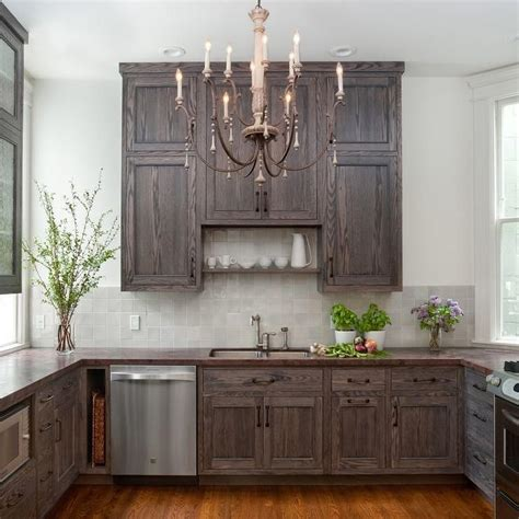 Gray Stained Cabinets by Shelf Kitchen Sink Cottage Kitchen