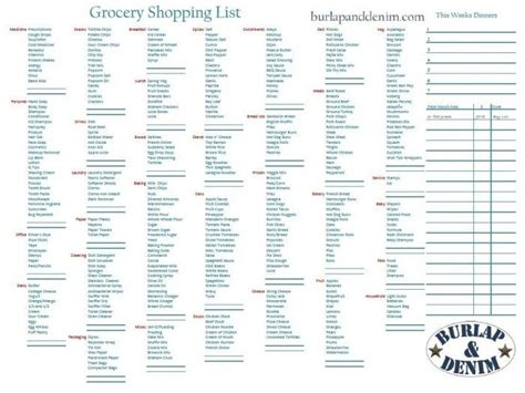 1000+ Images About Shopping List Templates & Printables On