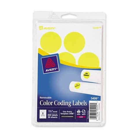 Avery 2020yg Round Removable Custom Colorcoding Labels