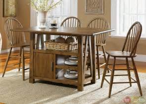 counter height kitchen island dining table farmhouse counter height storage table casual dining set