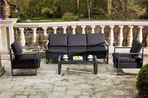 canap de jardin aluminium santorin noir salon de jardin resine mobilier de jardin