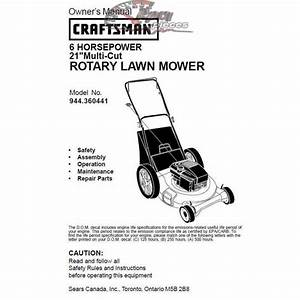 Craftsman Lawn Mower Parts Manual 944 360441