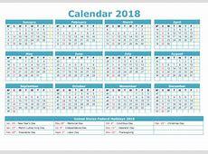 2018 Calendar Printable Template Excel Word Free