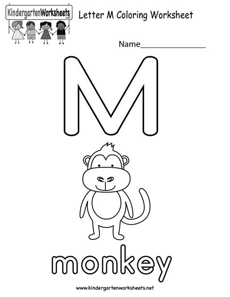 letter m coloring worksheet for who are learning the
